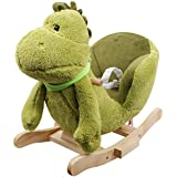 Linzy Plush Dinosaur Rocker Collection with Nursery Rhymes Sound Rocking Animal, Green, 24""