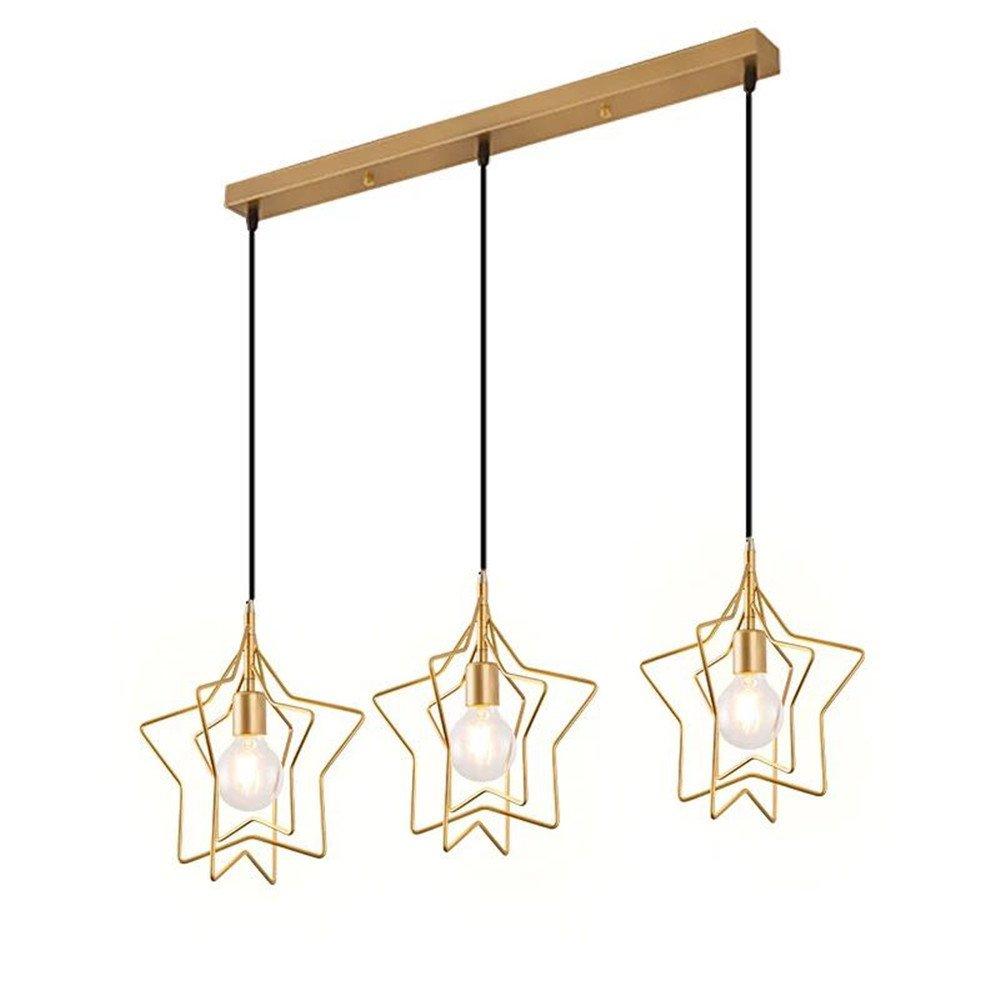 Koalala Pendelleuchte Loft Retro Industriellen Stil Kronleuchter Drei Goldene Sterne Lichter Hängeleuchte Geeignet Für Schlafzimmer Wohnzimmer Esszimmer