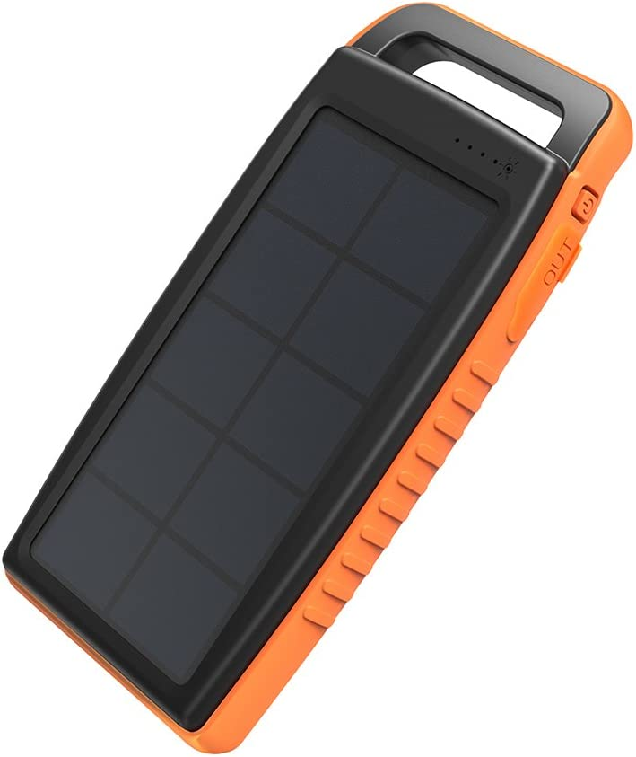 Solar Charger RAVPower 15000mAh Outdoor Portable Charger Solar Power Bank Dual USB External Battery Pack Power Pack with Flashlight (IPX4 Splashproof, Dustproof, Solar Panel Charging, DC5V/2A Input)