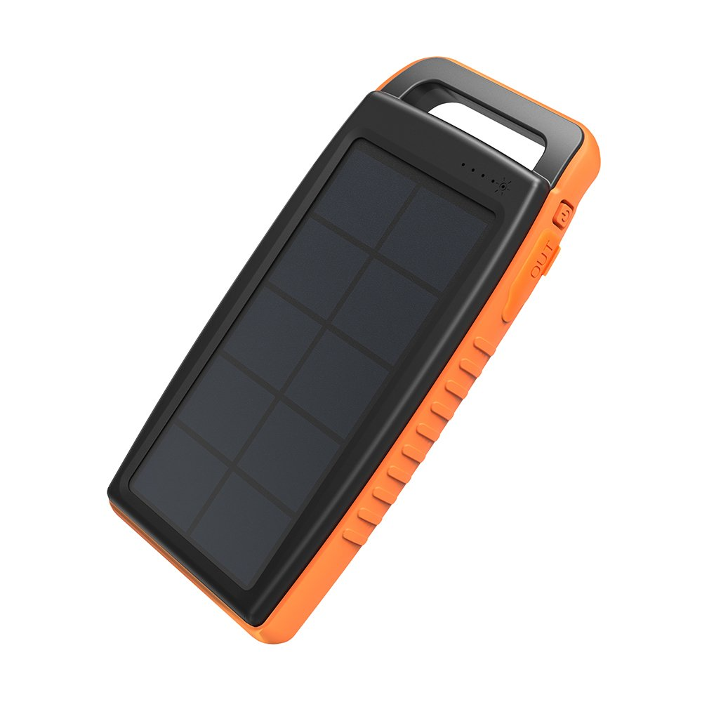 Solar Charger RAVPower 15000mAh Outdoor Portable Charger Solar Power Bank Dual USB External Battery Pack Power Pack with Flashlight (IPX4 Splashproof, Dustproof, Solar Panel Charging, DC5V/2A Input) by RAVPower