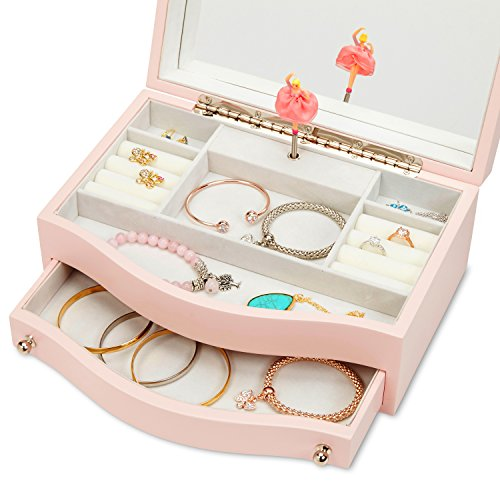 JewelKeeper Girls Wooden Music Jewelry Box with Pullout Drawer, Classic Design with Ballerina and Mirror, Somewhere Over The Rainbow Tune, Rose Pink by JewelKeeper (Image #3)
