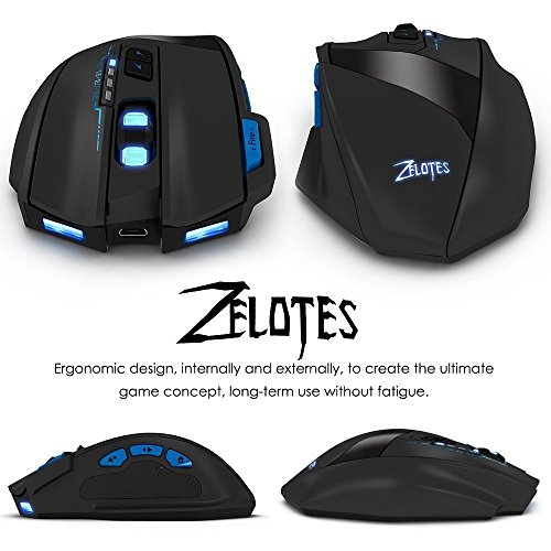 Portable Wireless Adjustable Computer Mouse - Ergonomic Precision Optical  Gaming Mice with USB Receiver, for PC, Laptop, Mac, Notebook, -Black by Zelotes (Image #3)