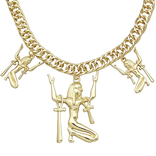 Gold Plated Q&Q Fashion Ancient Egyptian Victorian Cleopatra Queen Goddess Isis Ankh Cross Statement Bib Necklace