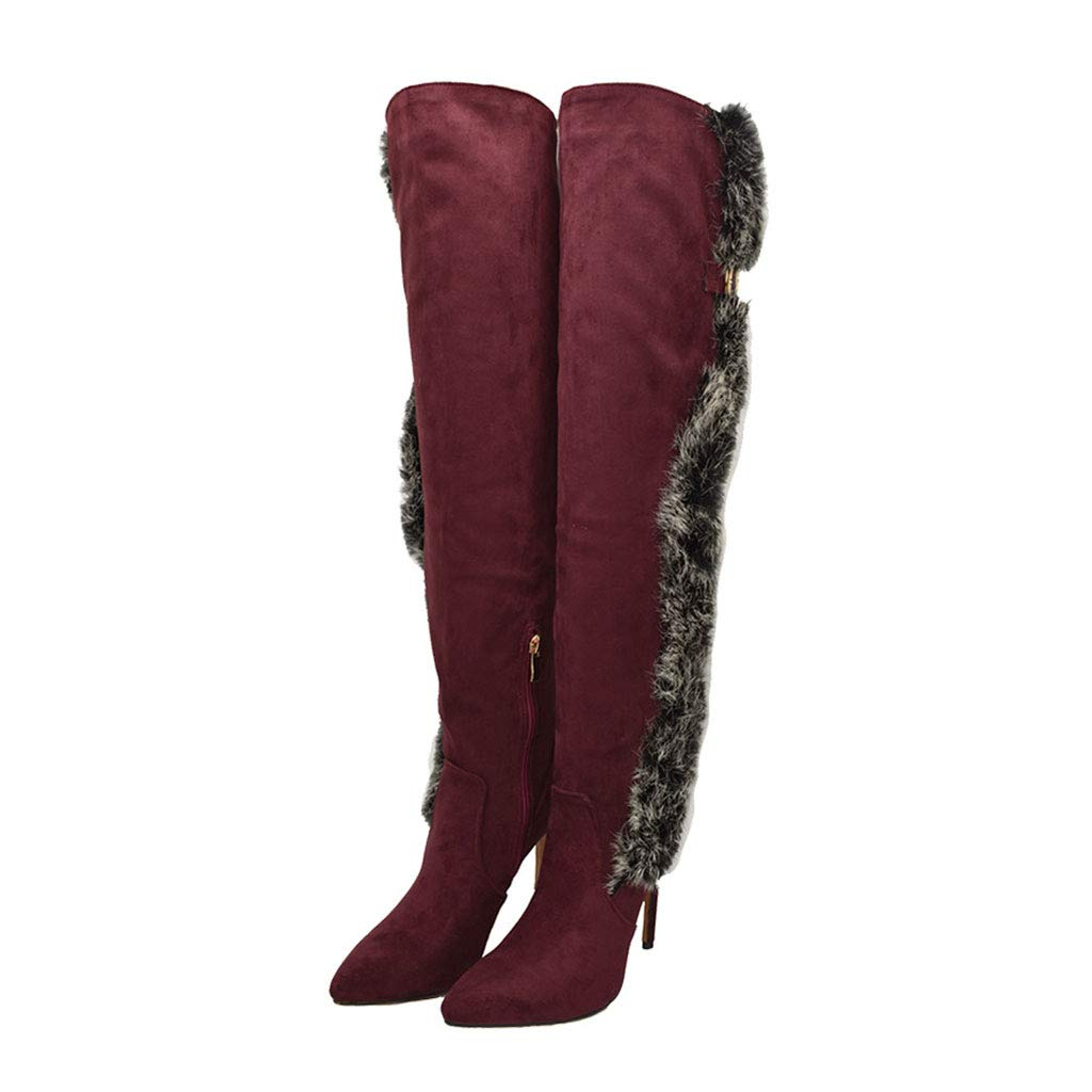Red Fashion Over The Knee Boots, High-Heeled Pointed High Boots Side Zipper Stretch Knight Boots Waterproof Platform Long Boots Women's Frosted Warm shoes