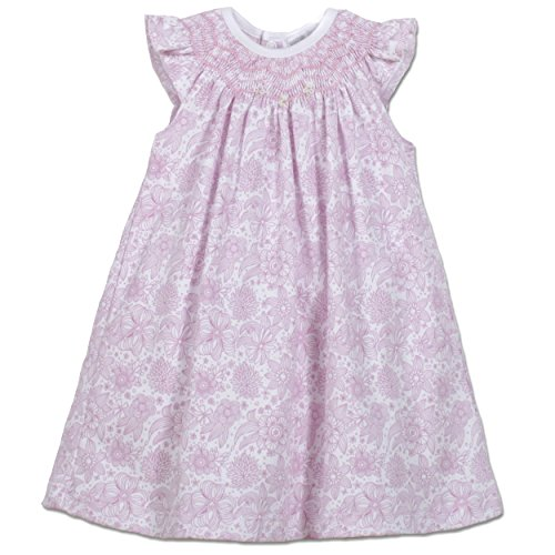 Feather Baby Girls Clothes Pima Cotton Angel Sleeve Hand-Smocked Knit Dress and Bloomer (Smocked Bloomer Set)