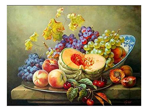 (5D DIY Diamond Embroidery Fruits Needlework Square Cross-Stitch Diamond Painting Decor for Home New Year Gifts,F3382,30x20cm Rolled Bag)