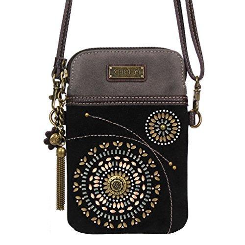 Chala Crossbody Cell Phone Purse - Women Faux Suede Multicolor Handbag with Adjustable Strap - Starburst - Black by CHALA