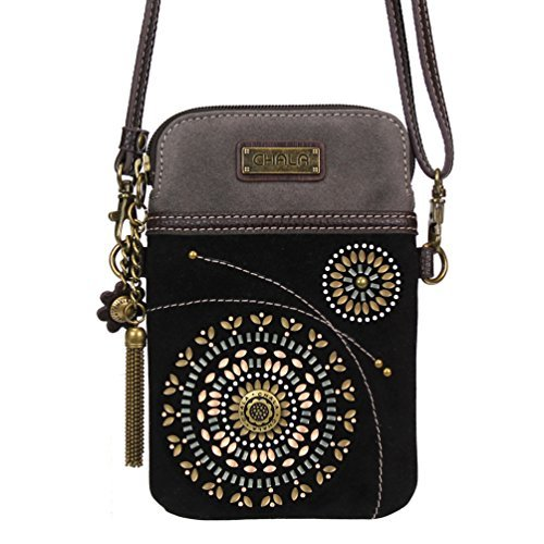 Chala Crossbody Cell Phone Purse - Women Faux Suede Multicolor Handbag with Adjustable Strap - Starburst - Black