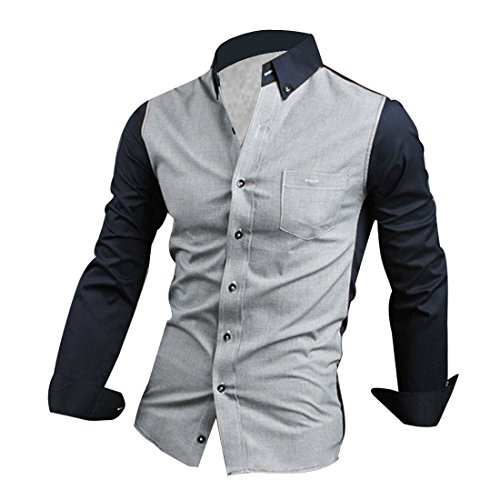 Vshop-2000 Men Point Collar Long Sleeve Button Front Slim Fit Shirt