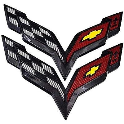 Coolandi CV-C7B C7 Corvette Front & Rear Crossed Flags Emblems Black Carbon Flash Trunk Hood Emblem Badge For Chevy: Automotive