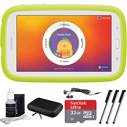 Samsung Kids Tab E Lite 7.0-inch 8GB Wi-Fi, White Bundle with 32GB Memory Card, Cleaning Kit, 3 Stylus Pens, Travelocity in-Ear Headphone and Hardshell Case