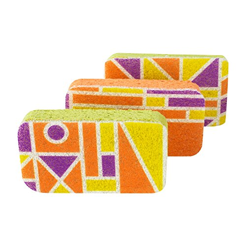 Casabella Cellulose Scrub Sponges, Plum, Lime Orange Print, 3-Pack (Cellulose Scrub Sponge)
