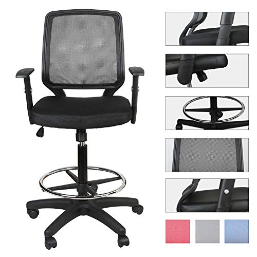 (LUCKWIND Office Drafting Chair Mesh - Adjustable Arm Task Ergonomic Lumbar Support MidBack Computer Desk Chair Swivel Chair with Adjustable Chrome Foot Rest Tilt Tension Control (SGS-BIFMA Black))
