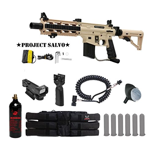 MAddog Tippmann U.S. Army Project Salvo Tactical Red Dot Paintball Gun Package - Tan ()