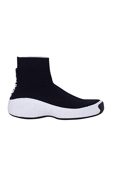 Tommy Sneakers Donna Nera Maglia Alta Con Jeans In Suola rCxdBeoW