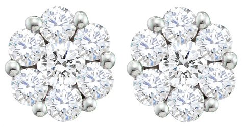 - 1.00ctw Cluster Natural Diamond Round Cut Flower Studs Earrings 10K White Gold