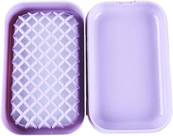 FIREPANDA Portátil de Moda de Forma Cuadrada de Dos Pisos Caja de jabonera de plástico Malla de Drenaje Esponja Rack Almacenamiento Estuche Accesorios de baño, púrpura: Amazon.es: Hogar
