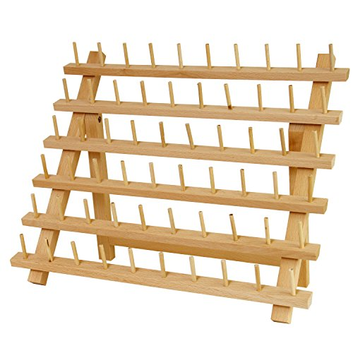 US Art Supply Premium Beechwood 60-Spool Sewing & Embroidery Thread Rack by US Art Supply