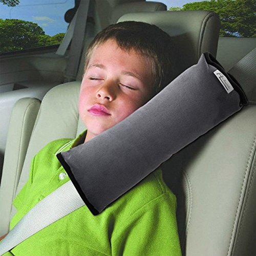 Gray Headrest (AutoLover Children Car Seat Belts Shoulder Protection Back Cushion Soft Neck Sleep Pillow Vehicle Headrest Harness Pad (GRAY))