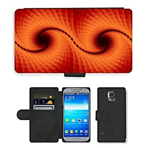 PU LEATHER case coque housse smartphone Flip bag Cover protection // M00151721 Fractal Fondo Naranja Arte Digital // Samsung Galaxy S5 S V SV i9600 (Not Fits S5 ACTIVE)