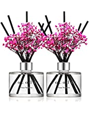 Cocod'or Preserved Real Flower Reed Diffuser, Rose Perfume Reed Diffuser, Reed Diffuser Set, Oil Diffuser & Reed Diffuser Sticks, Home Decor & Office, 2 Pack