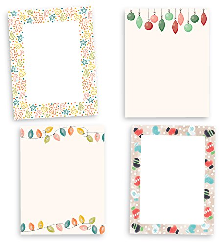 Holiday Borders Christmas Stationary Collection - 80 Sheets - Made from Premium 70lb Text Paper
