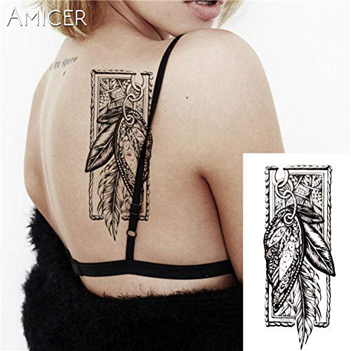 LVGU Temporary Tattoo 5pcs Different Poker Face Hot Black White Large Flower Henna Temporary Tattoo Black Mehndi Style Waterproof Tattoo Sticker 21X11.4 cm]()