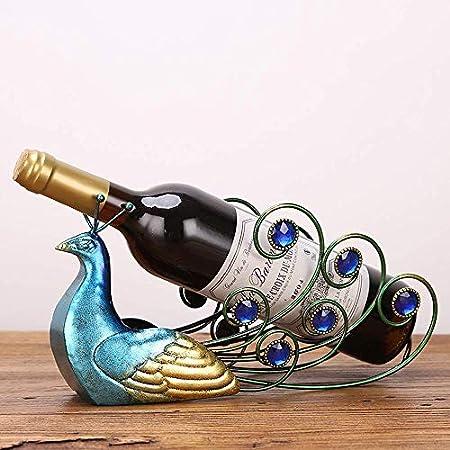 AERVEAL Estante de Vino Decoración Hogar Creativo Gabinete de Vino Decoración Muebles Botella de Vino de Pavo Real,Azul Verde,Los 30 * 17 * 10Cm