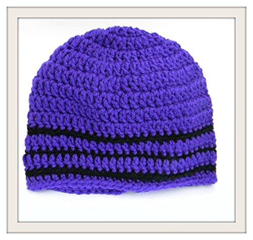 Amazoncom Crochet Skull Cap Purple With Black Trim Beanie Boho