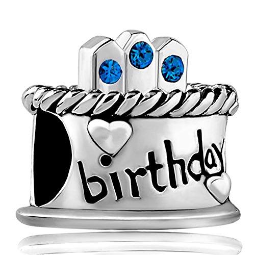 LovelyJewelry Birthday Cake Charms September Sapphire Birthstone Candles Beads For Bracelets