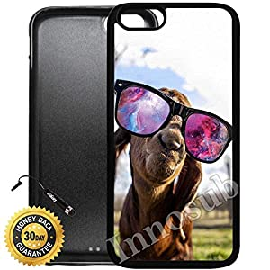 Custom iPhone 6/6S Case (Goat With Sunglasses Nebula) Edge-to-Edge Rubber Black Cover with Shock and Scratch Protection | Lightweight, Ultra-Slim | Includes HD Tempered Glass and Stylus Pen by Innosub