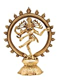Cosmo-craftvilla Lord Shiva Dancing Natraj / Nataraja Statue Elegant Brass Showpiece ( W-1.16kg ,H- 9 inch)