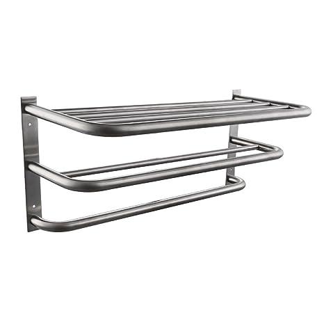 KES SUS304 acero inoxidable toallero estante con barras soporte de pared minimalista, BTR200-P, marrón