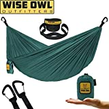Wise Owl Outfitters Ultralight Camping Hammock with Tree Straps - Feather Light Lightweight Compact Durable Ripstop Parachute Nylon Hammocks - Outdoor Travel Backpacking Hiking - Green