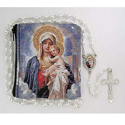 Faux Pearl Mother & CH Decal Rosary, 5MM Faux Pearl Coated Beads with Rhodium Plated Pewter Mother and Child Center and Crucifix. Comes with Mother & Child Rosary Pouch. ()
