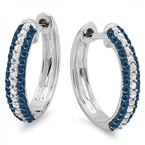 Dazzlingrock Collection 0.50 Carat (ctw) 10K Round Blue & White Diamond Ladies Huggies Hoop Earrings 1/2 CT, White Gold ()