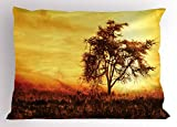 Ambesonne Africa Pillow Sham, Big Tree Silhouette Nature at Africa Summer Evening of Masai Mara, Decorative Standard Queen Size Printed Pillowcase, 30 X 20 inches, Yellow Dark Orange Brown