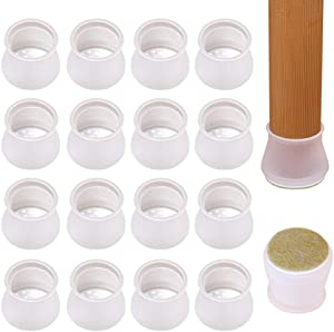 16PCS Upgraded Silicone Chair Leg Caps with Felt Pads, Fit Diameter 1 3/16