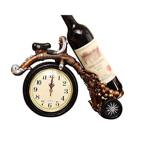 Étagère à vin rouge, roue haute avec horloge décoration de la maison salle de séjour artisanat cadeau polyvalent longueur 32x large 12x haute 35 cm