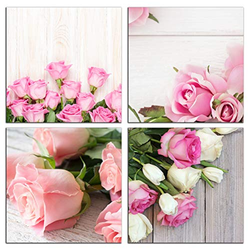4 Piece Office Wall - NAN Wind Modern 4 Piece Canvas Print Wall Art Painting for Home Decor Floral Still Life of Pink Rose Flower in The Table Picture Paintings for for Home Decor Valentine