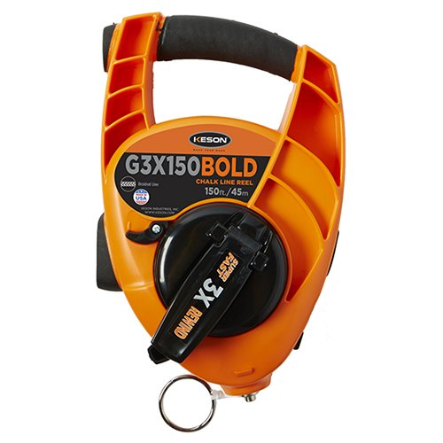 Keson G3X150BOLD Bold Chalk Line Reel with 3X1 Rewind, 12-Ounce Chalk Capacity, 100-Foot ()