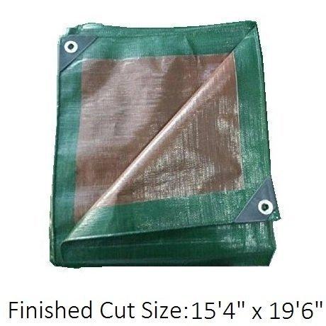 Premium Heavy Duty Multi-Purpose Waterproof Poly Tarp Cover, Reversible, Green and Brown, 16 ft x 20 ft