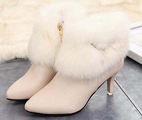 Naughtyangel Women's Pointed Toe Stiletto Heel Zip Ankle Boot with Rabbit Fur Cream Q3dma4