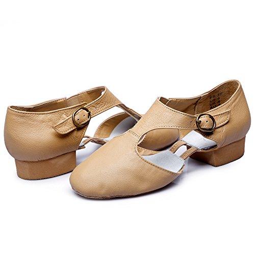 Dames T-strap Leren Jazz-dansschoenen Natural