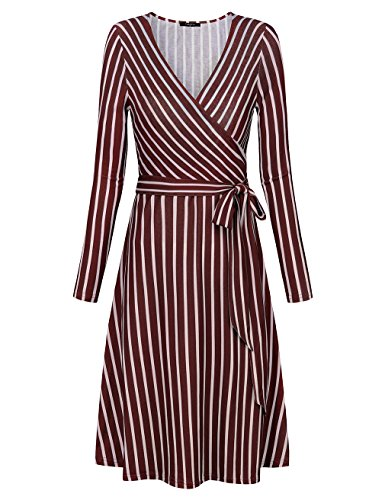 VALOLIA Fit and Flare Dresses, Women's Vintage Elegant Stripes A Line Skater Wrap Dress Red and White XX-Large (Midi Coat)