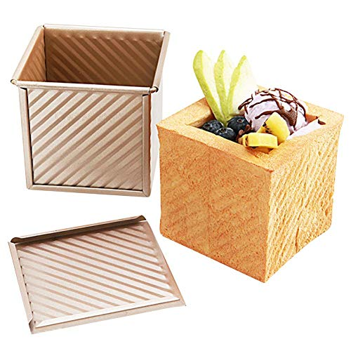 Per Mini Non - Stick Toast Box Case Corrugated Aluminized Steel Bread Baking Cake Mould Loaf Pan Cover