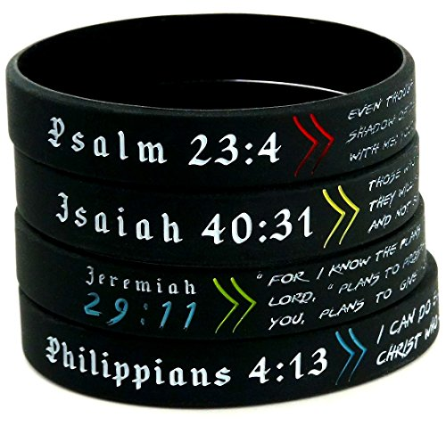 - Inkstone Bible Wristbands, Gift Pack - Set of 4 Scripture Bracelets - Adult Size for Men Women
