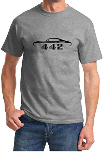 1970-72 Oldsmobile 442 Cutlass Hardtop Classic Design Tshirt large grey ()