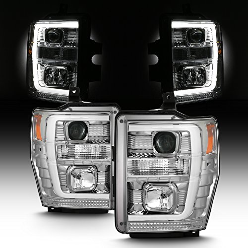 For 2008-2010 Ford F250 F350 F450 F550 Superdury LED Tube Projector Headlights Driver+Passenger ()