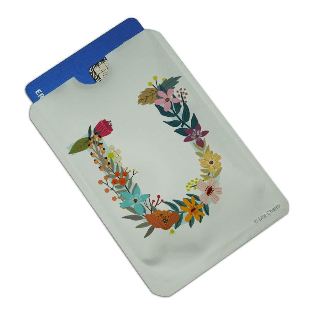Letter U Floral Monogram Initial Credit Card RFID Blocker Holder Protector Wallet Purse Sleeves Set of 4